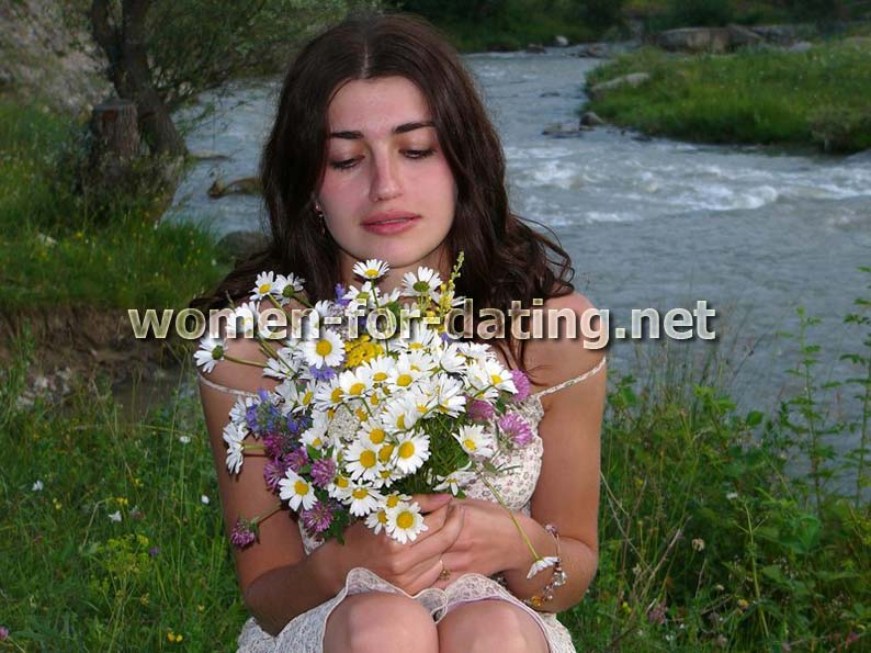 russian woman flowers